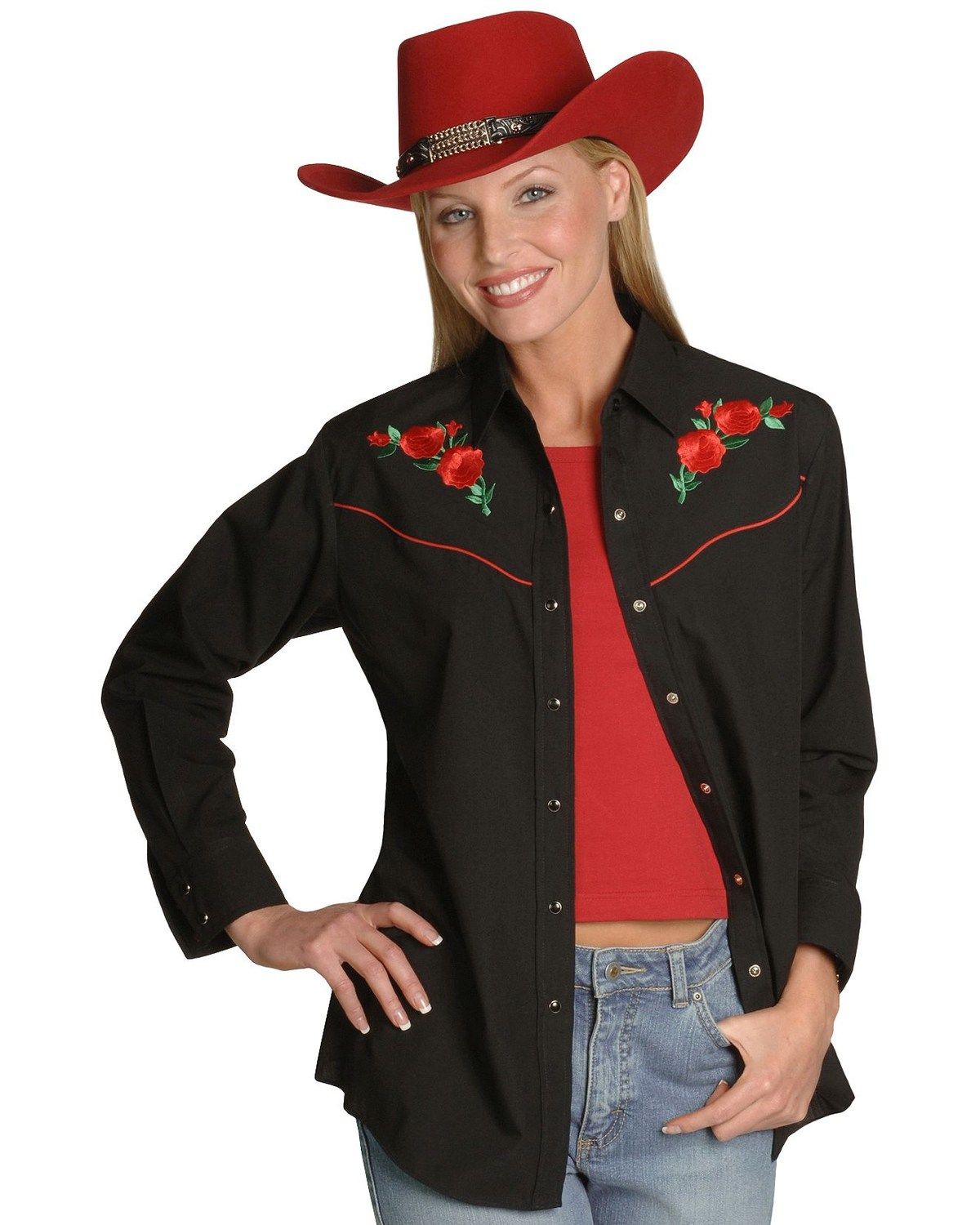 Ely Walker Womens Embroidered Rose Long Sleeve Western Shirt Boot