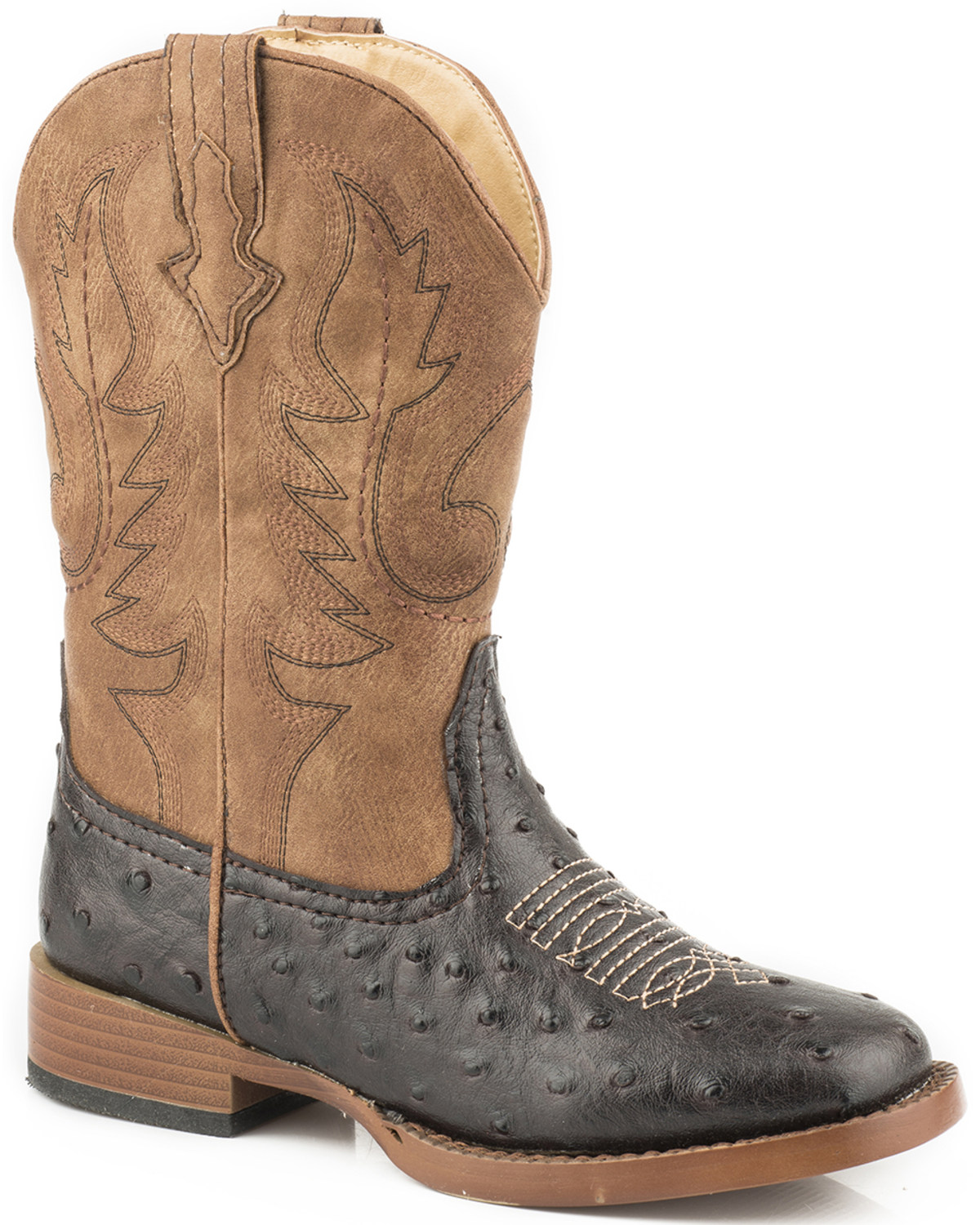6a8bced34ff Roper Youth Boys' Brown Faux Ostrich Print Cowboy Boots - Square Toe