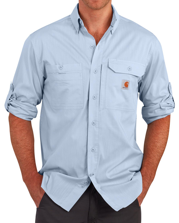 a12468fa85 Carhartt Men s Light Blue Force Ridgefield Solid Long-Sleeve Shirt ...