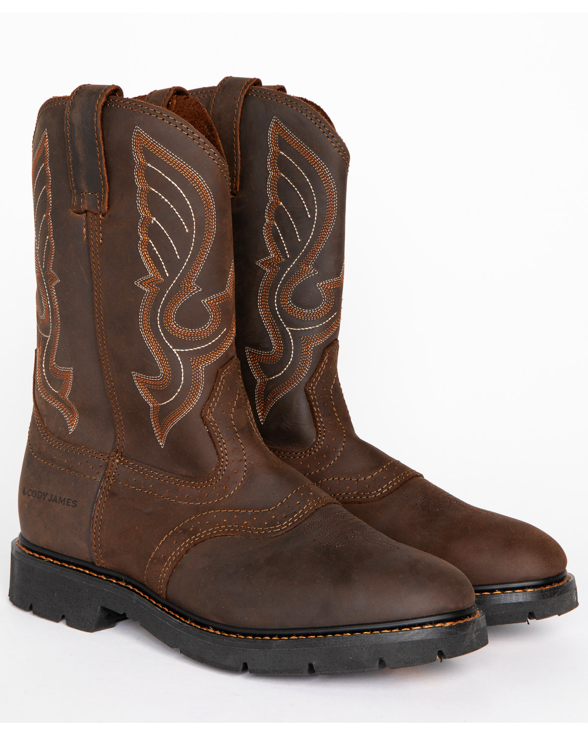 Cody James Men's Western Pull On Work Boots Round Toe