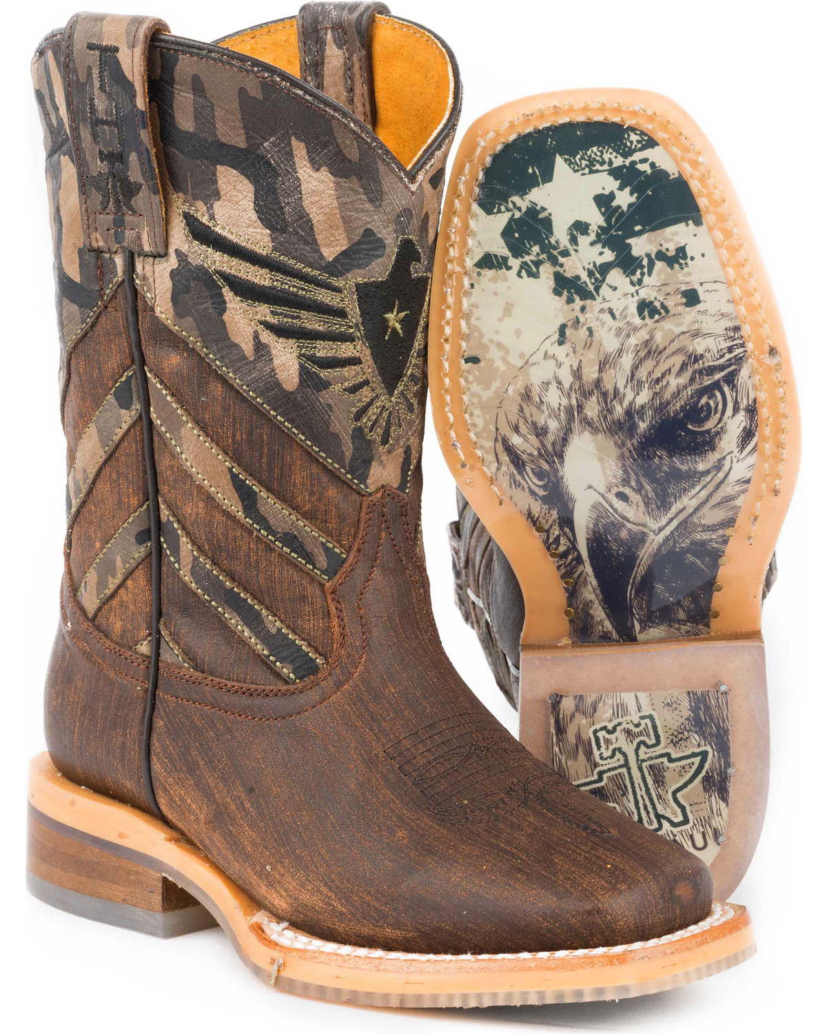 4f3e85bc13e Tin Haul Boys' Sergeant at Arms Eagle Cowboy Boots - Square Toe