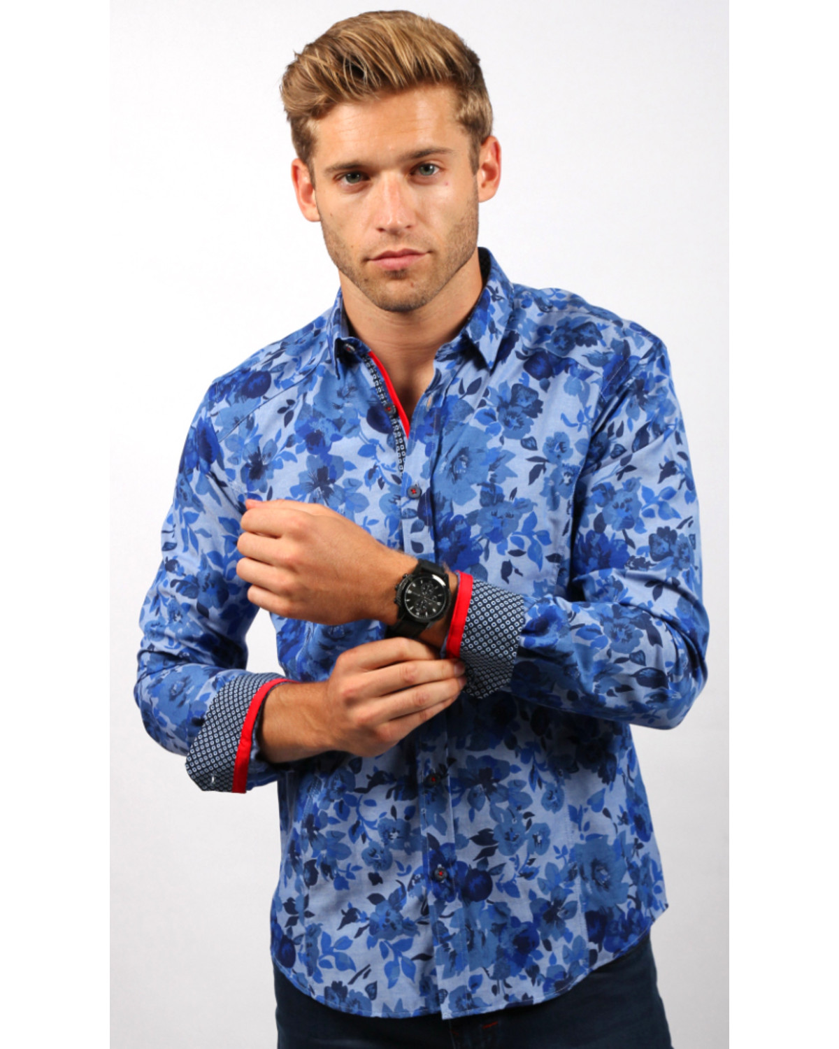 Eight X Mens Blue Floral Printed Shirt Boot Barn