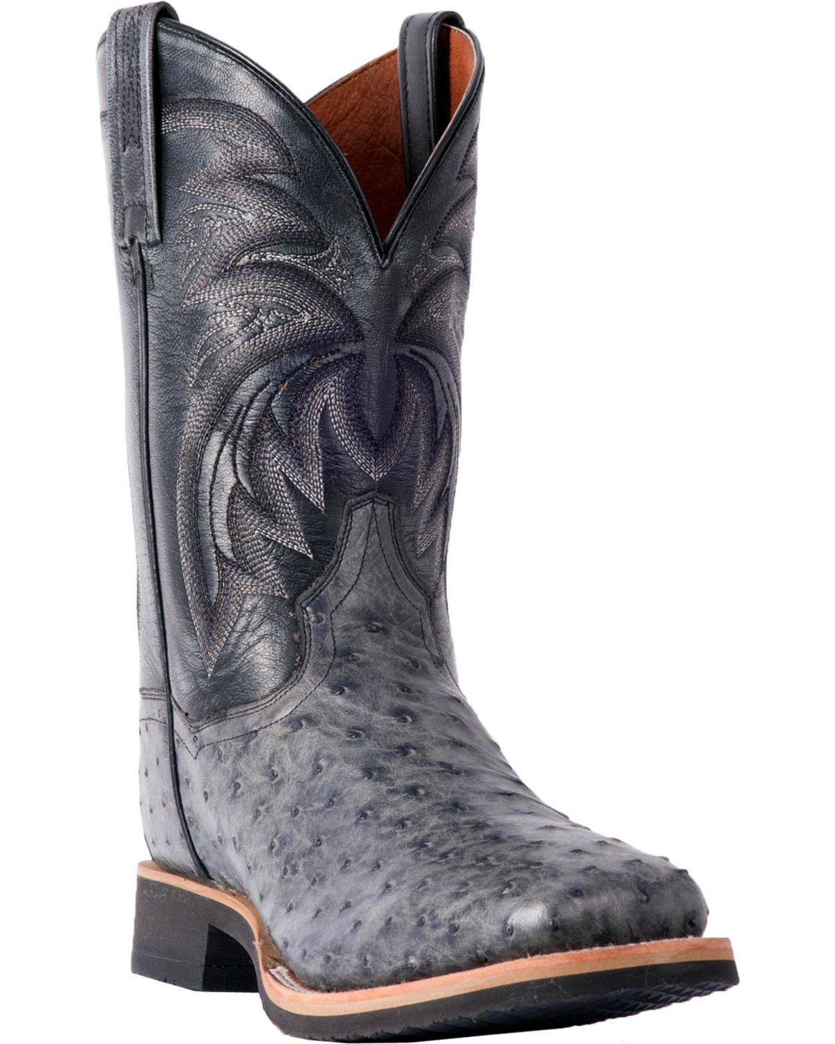 66fe0773ccb Dan Post Men's Philsgood Grey Full Quill Ostrich Boots - Square Toe