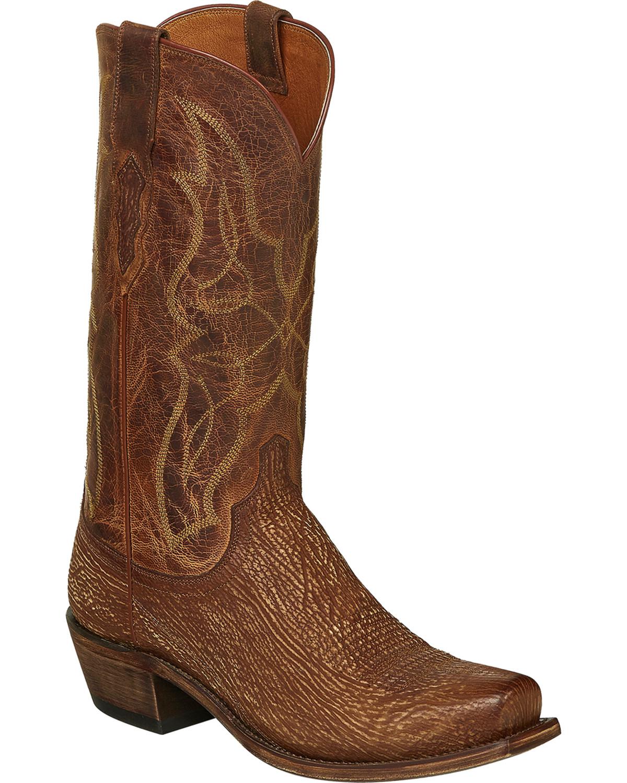 7a1d0b0e4ed Lucchese Handmade Cognac Carl Sharkskin Cowboy Boots - Snip Toe