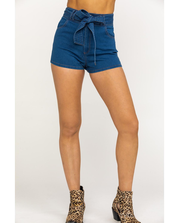cc1675f0833e Zoomed Image Flying Tomato Women's Medium Tie-Up High Rise Shorts, Blue, ...