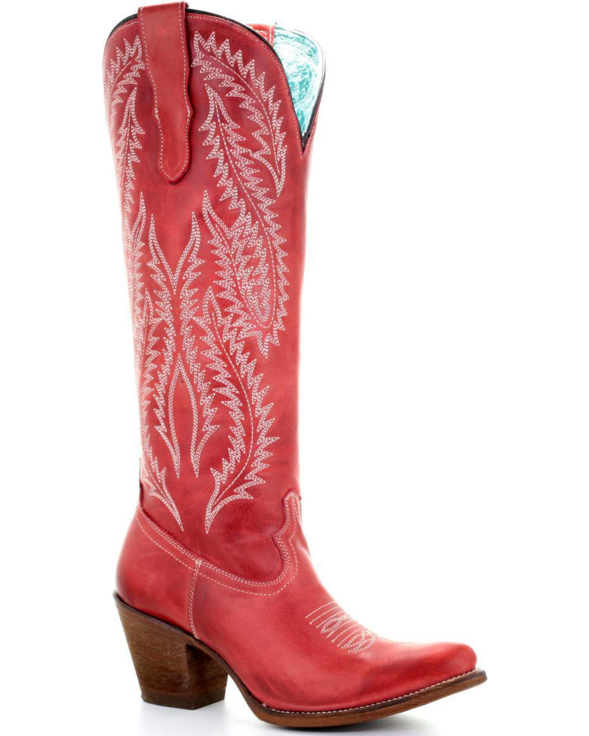 62340f35db7 Corral Women s Red Embroidery Tall Top Western Boots - Round Toe ...