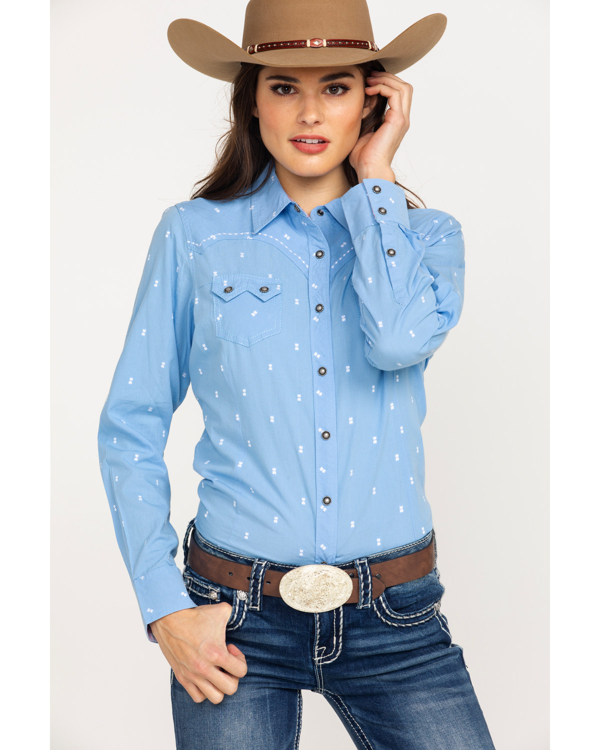 24ffb5a704 Ariat Women s REAL Lucky Print Snap Long Sleeve Western Shirt - Plus ...