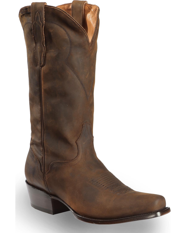 cc78096b591 El Dorado Men's Handmade Tan Oiled Roper Boots - Snip Toe