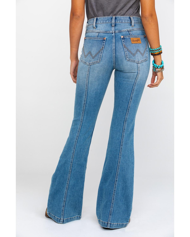 915db3b6 Zoomed Image Wrangler Women's Heritage Seamed Light Flare Jeans , Blue, ...