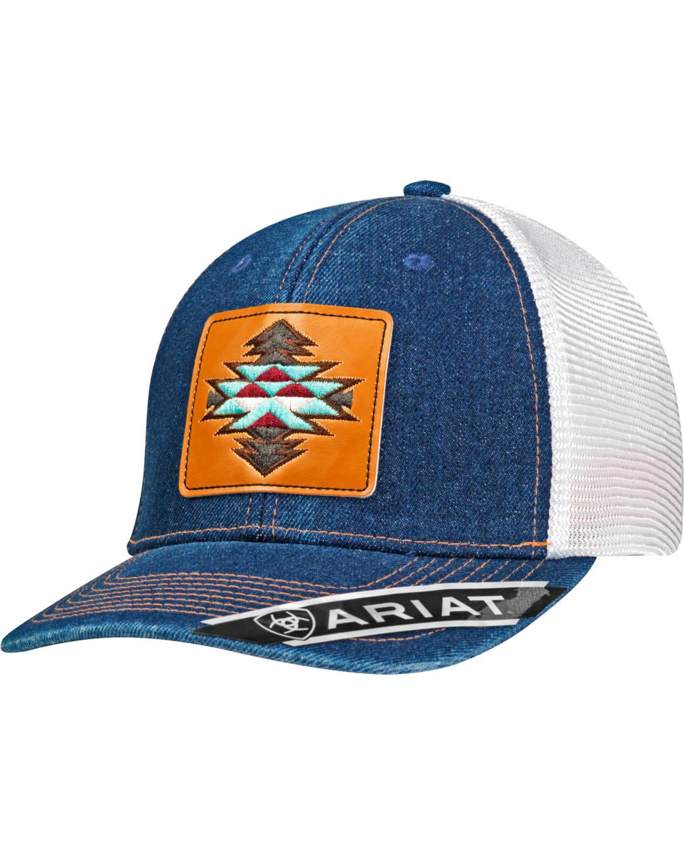 Ariat Women s Blue Aztec Logo Denim Baseball Cap  12dede92eb5