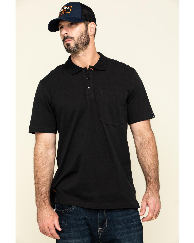 Hawx Men's Black Miller Pique Short Sleeve Work Polo Shirt - Big