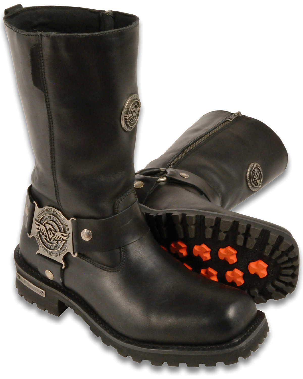 """Milwaukee Leather Men/'s 11/"""" Classic Harness Motorcycle Boot w// Square Toe Design"""