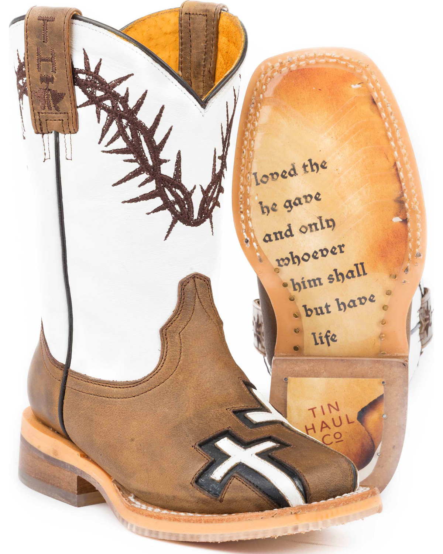 Tin Haul Boys Tan Crosses Western Boots Square Toe