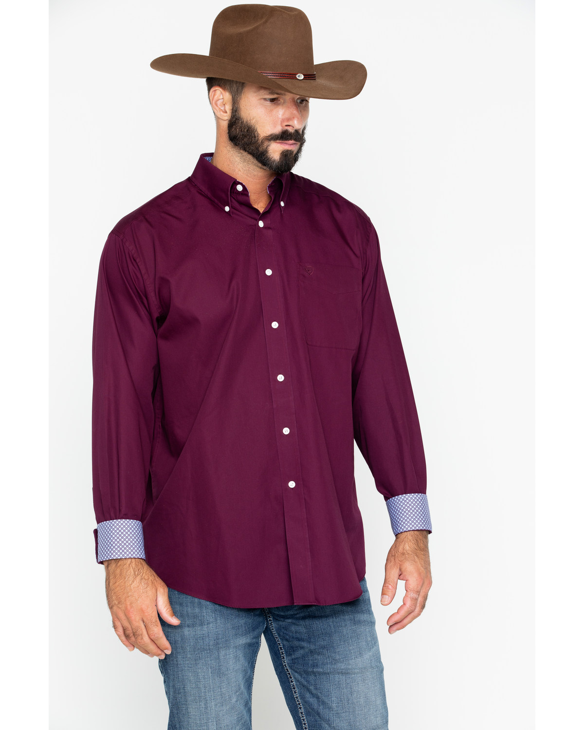 07174d5d Zoomed Image Ariat Men's Maroon Solid Twill Shirt , Maroon, ...
