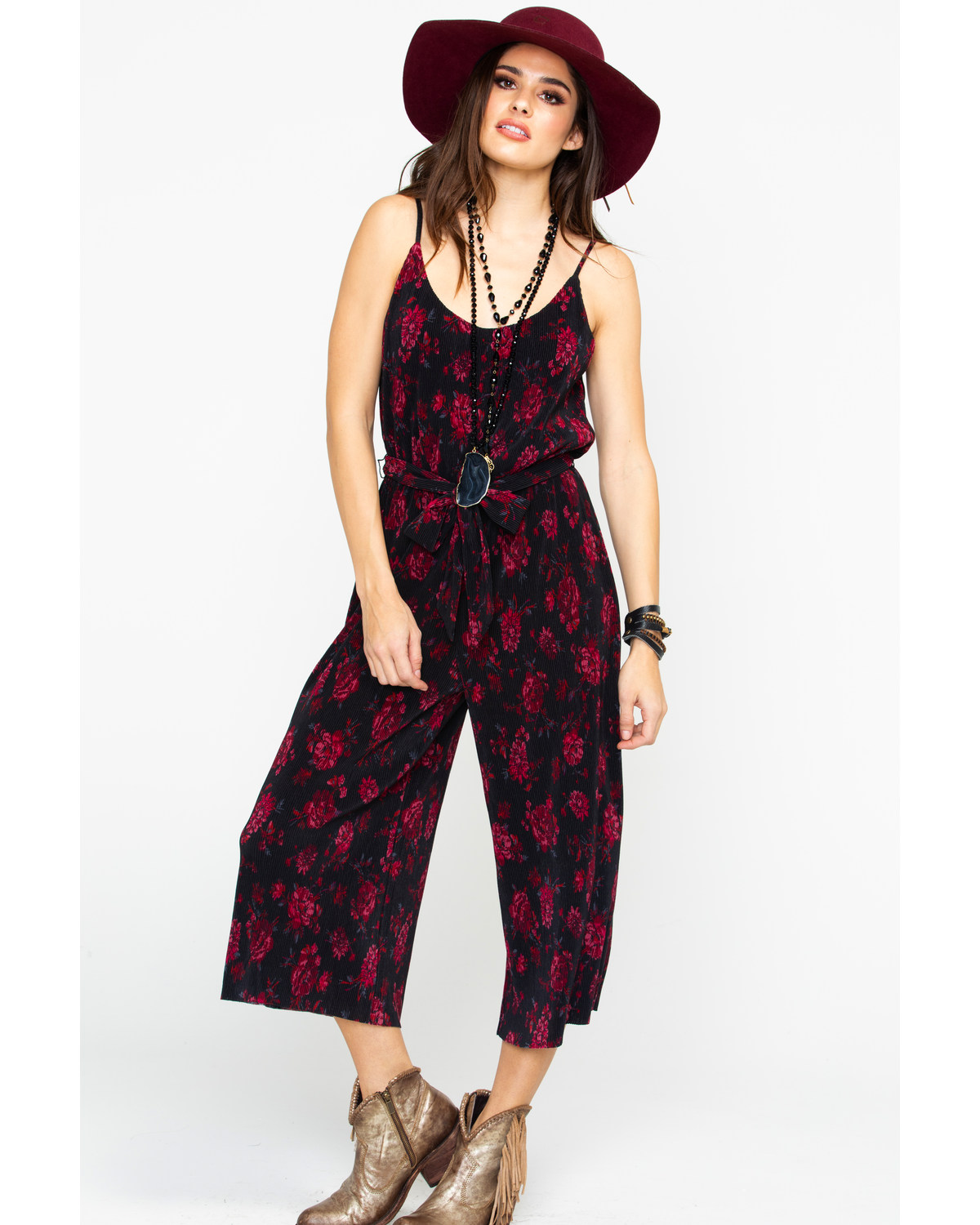 e785ab2251d3 Zoomed Image Eyeshadow Women's Pleated Floral Jumpsuit, Burgundy, ...