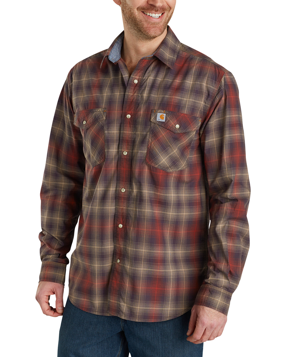 Carhartt Mens Long Sleeve Plaid Shirt