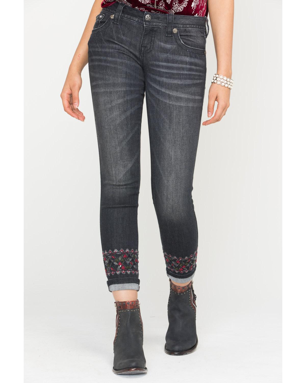 f93fc4ec5340b Miss Me Women s Distressed Black Skinny Cuffs Jeans