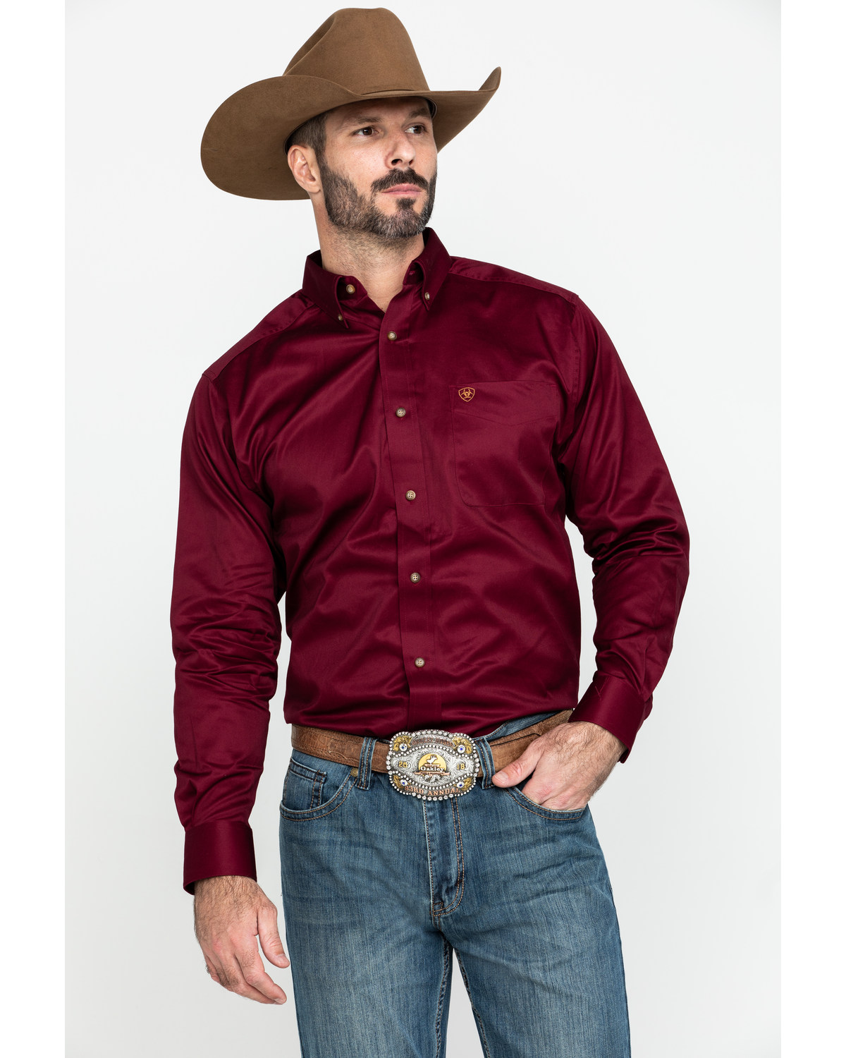 0341fc1b Zoomed Image Ariat Men's Solid Twill Long Sleeve Western Shirt, Burgundy,  hi-res