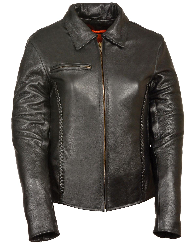 b55f032ae Milwaukee Leather Women's Shirt Collar Braided Leather Jacket - 3X