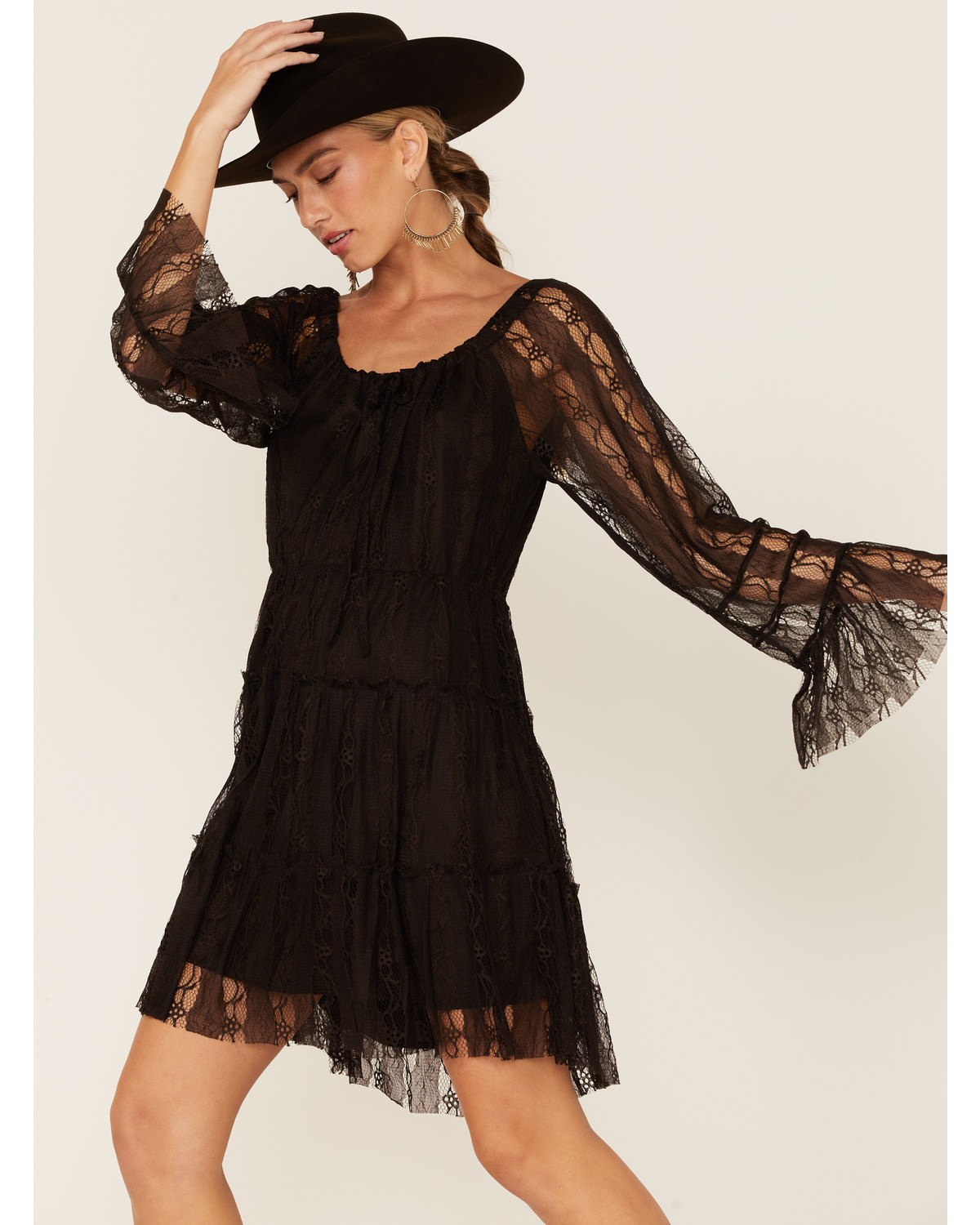 Scully Womens Western Lace Tiered Dress