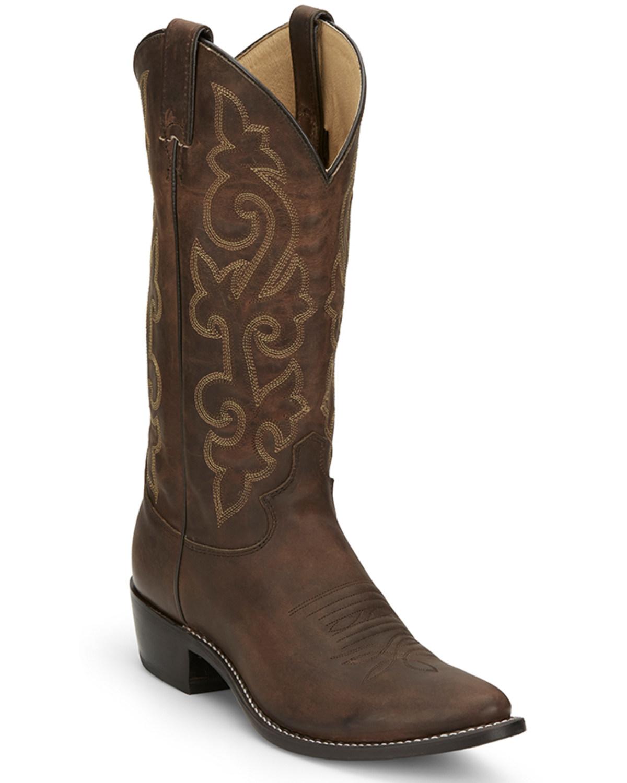 Justin Men\u0027s Bay Apache Leather Cowboy Boots , Medium Toe