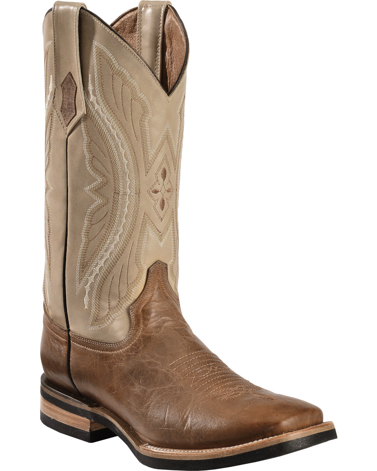 Ferrini Distressed Kangaroo Cowboy Boots - Wide Square Toe ...