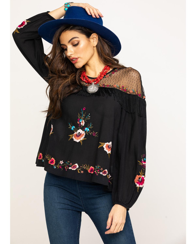 6c1ca5336e0 Zoomed Image Wrangler Women's Floral Embroidered Mesh Yoke Top, Black, ...
