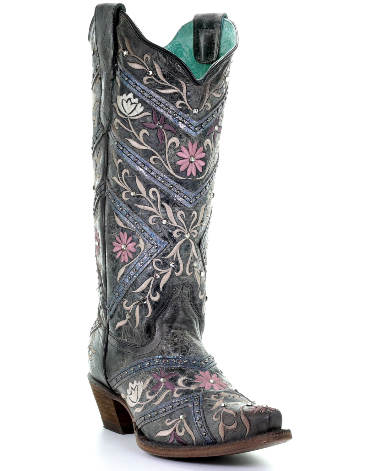 ccd445732c6 Corral Women's Floral Embroidery & Rhinestones Western Boots - Snip Toe