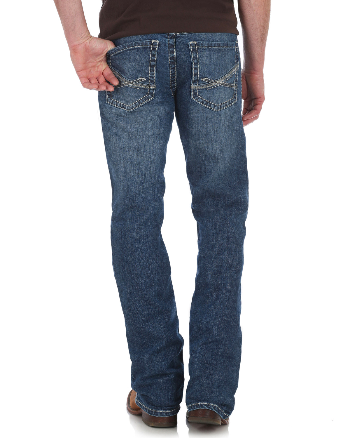 c6bbdcf2 Zoomed Image Rock 47 by Wrangler Men's Slim Boot Cut Jeans , Blue, ...