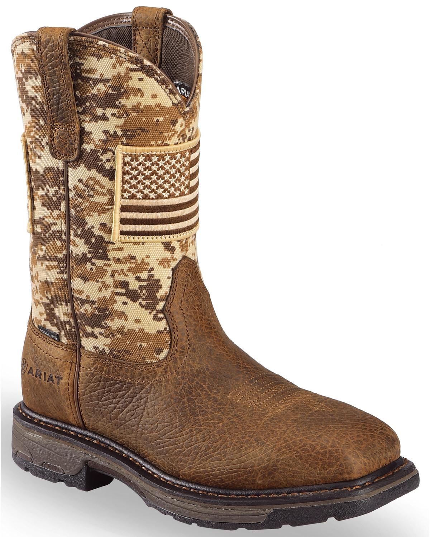 fb3819a7969 Ariat Men's Brown Workhog Patriot Western Boots - Steel Toe