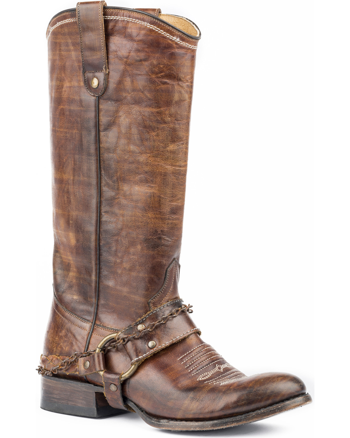 0ffbd11039752 Roper Women's Selah Vintage Brown Leather Harness Boots - Round Toe