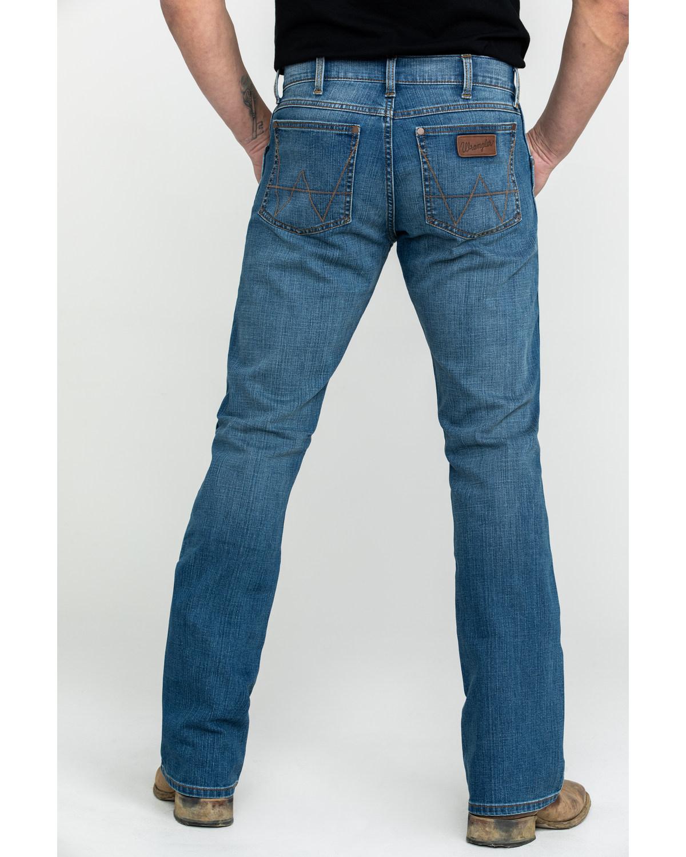 624dc194 Zoomed Image Wrangler Retro Men's Beasley Slim Boot Jeans , Blue, hi-res.  Zoomed Image ...