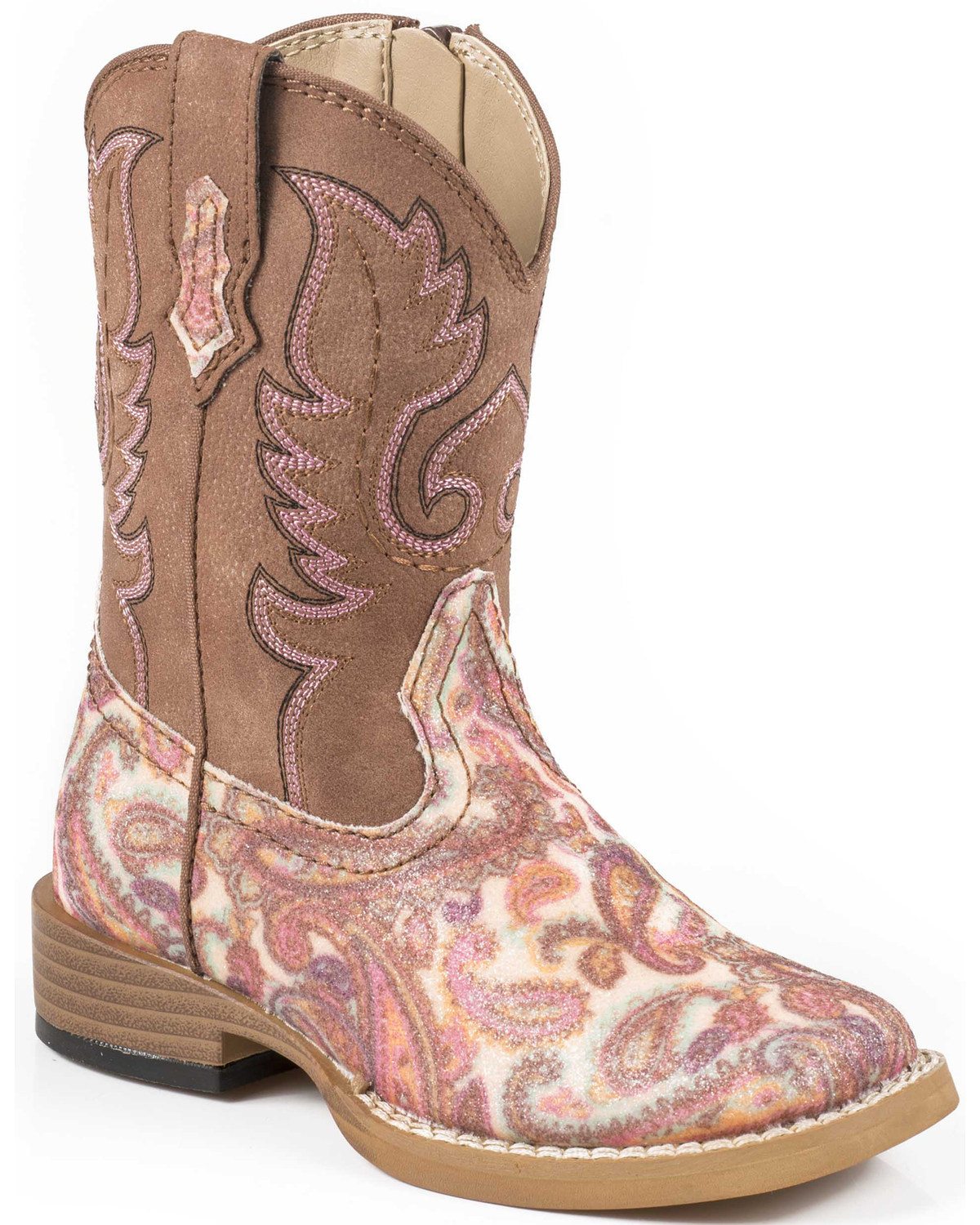 9f77beb8a86 Roper Toddler Glitter Paisley Cowgirl Boots - Square Toe