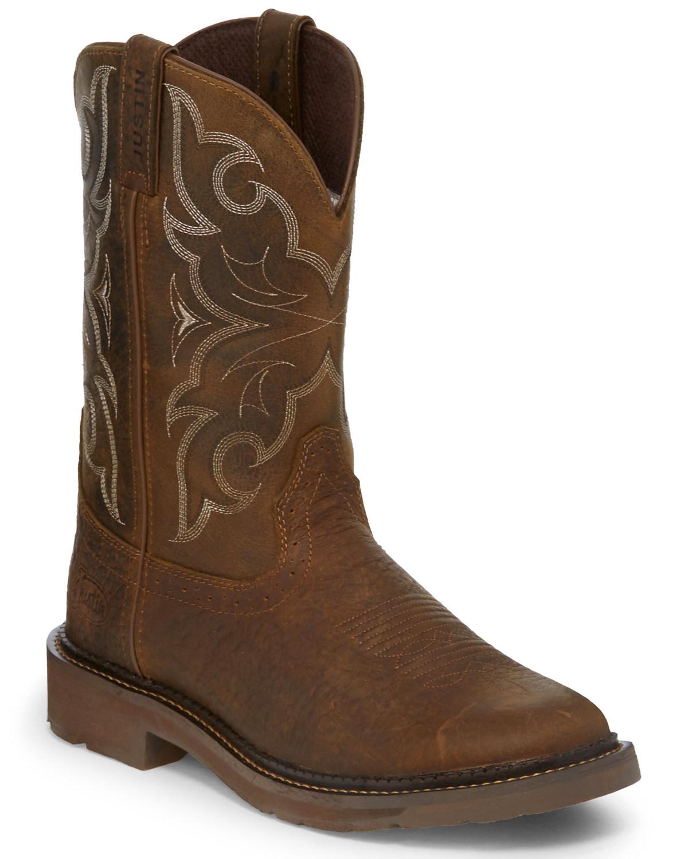 74ec2c5adab Justin Men's Amarillo Western Work Boots - Round Toe