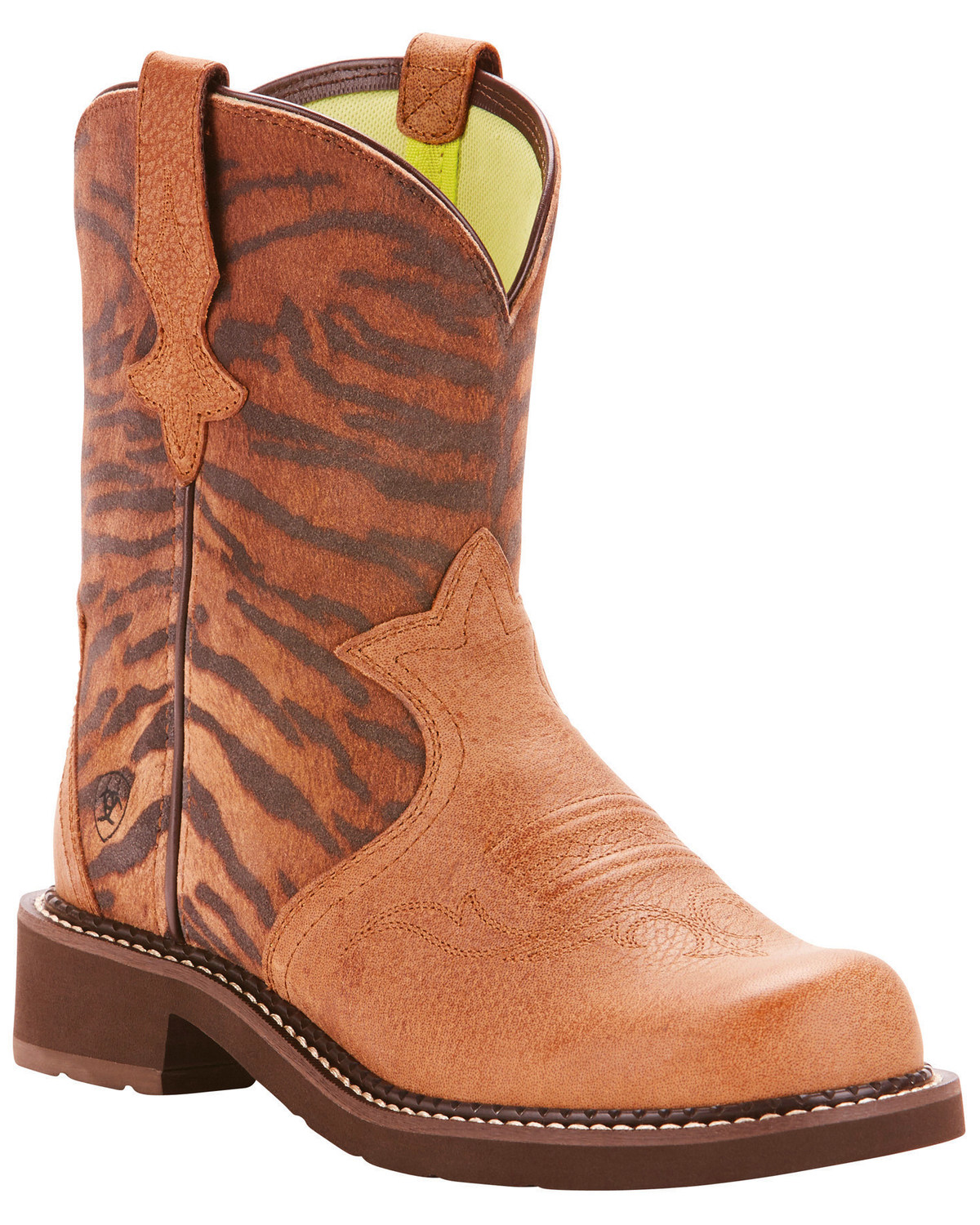 c3ec054a053 Ariat Fatbaby Women's Heritage Trio Vintage Tiger Print Cowgirl Boots -  Round Toe