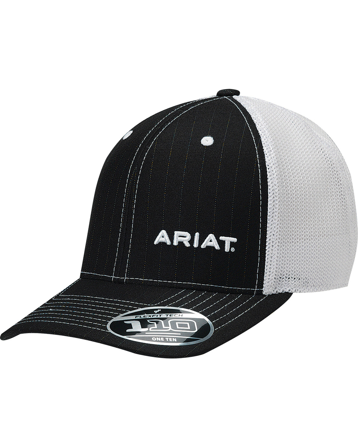 ba8eb4e97dfae Ariat Men s Black Pinstripe Pattern Baseball Cap