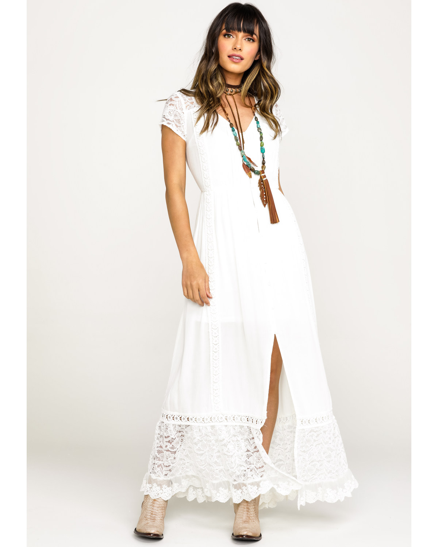 b161ca668 Zoomed Image Band of Gypsies Women's White Bermuda Button Down Maxi Dress,  White, ...