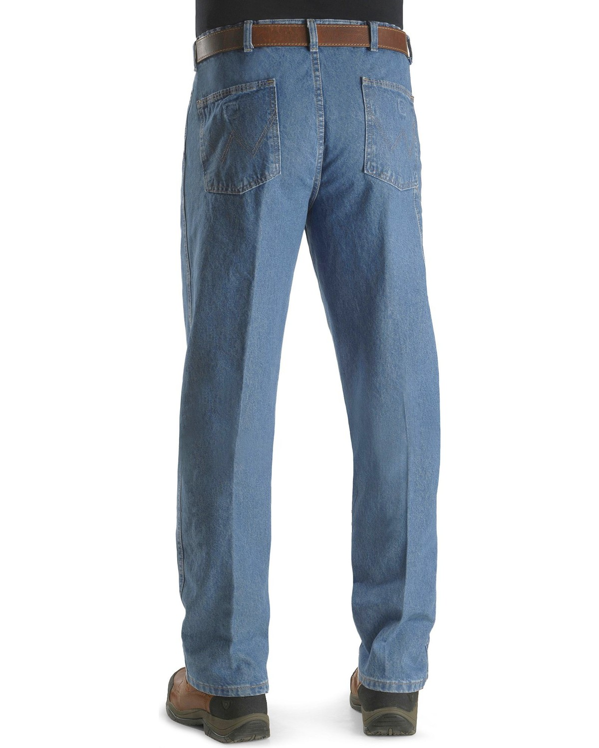 6b2bb00f Zoomed Image Wrangler Rugged Wear Men's Angler Jeans, Indigo, ...