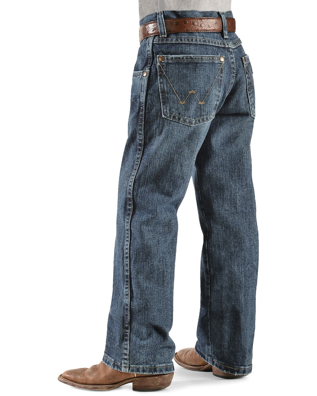821d47cd Zoomed Image Wrangler Boy's RETRO Straight Leg Western Jean Size 8-16, Denim,  hi-