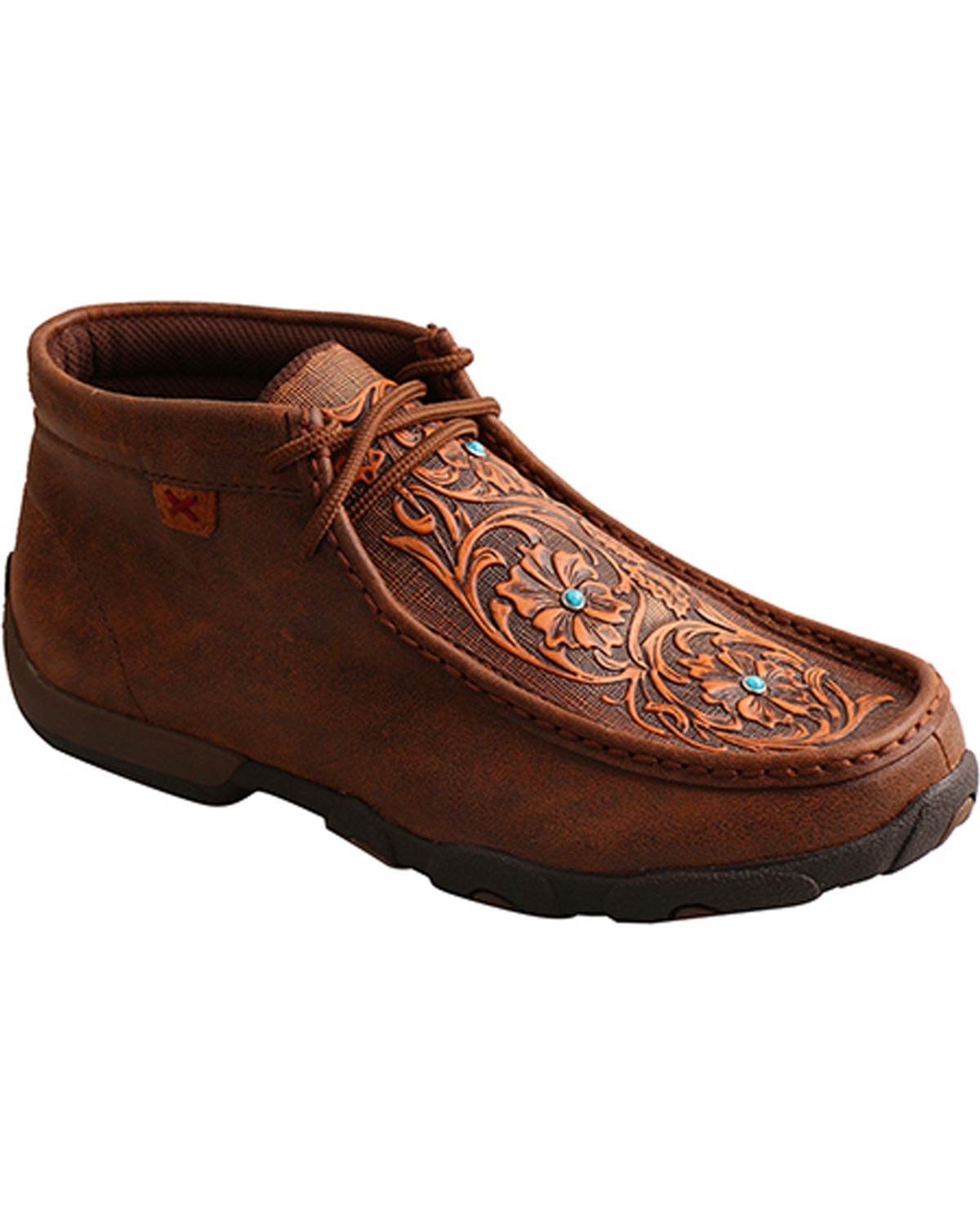 Twisted X Women's Brown Tooled Flowers
