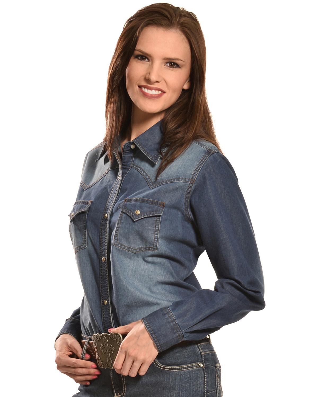 5947265a360 Wrangler Women s Premium Long Sleeve Denim Shirt
