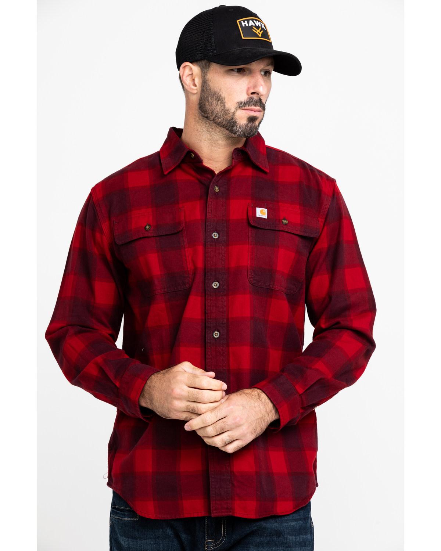 sklep internetowy specjalne wyprzedaże autentyczna jakość Carhartt Men's Red Hubbard Flannel Long Sleeve Work Shirt