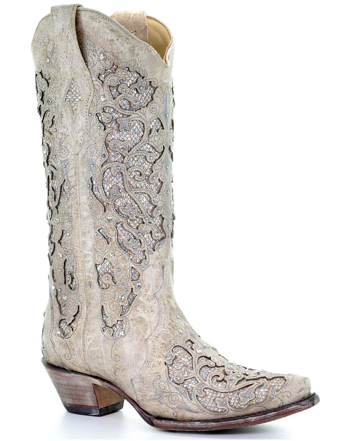 0c284dfd755 Corral Women's White Glitter Inlay Western Boots