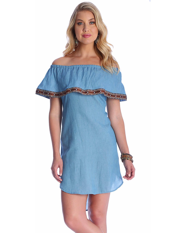 Wrangler Women s Blue Off-The-Shoulder Tencel Denim Dress  79ae3dc00