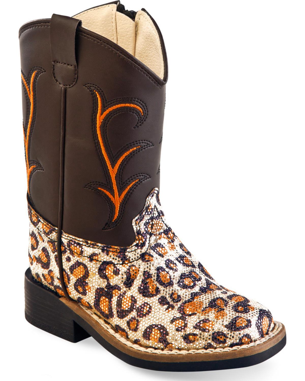 f203501fd026 Zoomed Image Old West Toddler Girls' Leopard Print Western Boots - Square  Toe , Leopard, hi