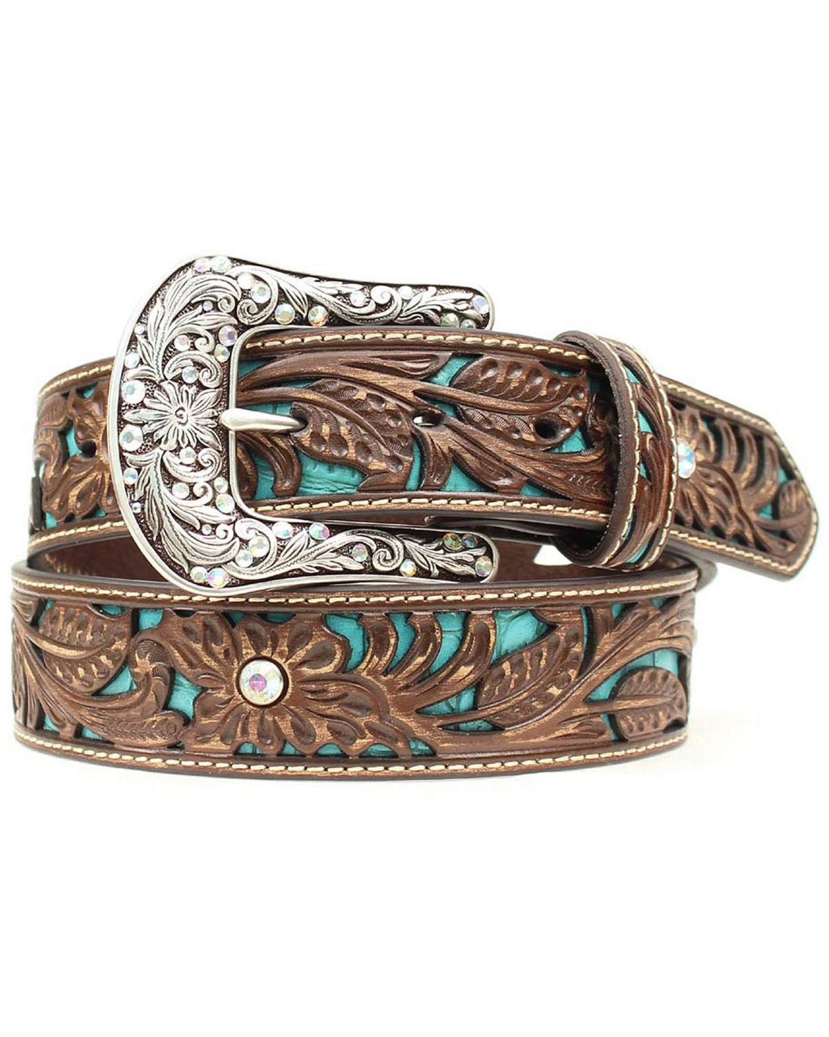 Ariat Women S Turquoise Inlay Floral Tooled Belt Boot Barn