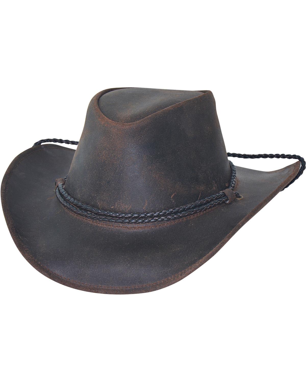 9a11e4ed Zoomed Image Bullhide Men's Hilltop Premium Leather Cowboy Hat, Chocolate,  hi-res