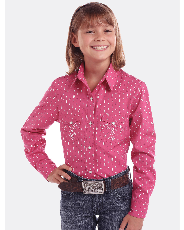 Panhandle Girls' White Label Arrow Print Long Sleeve Western Shirt