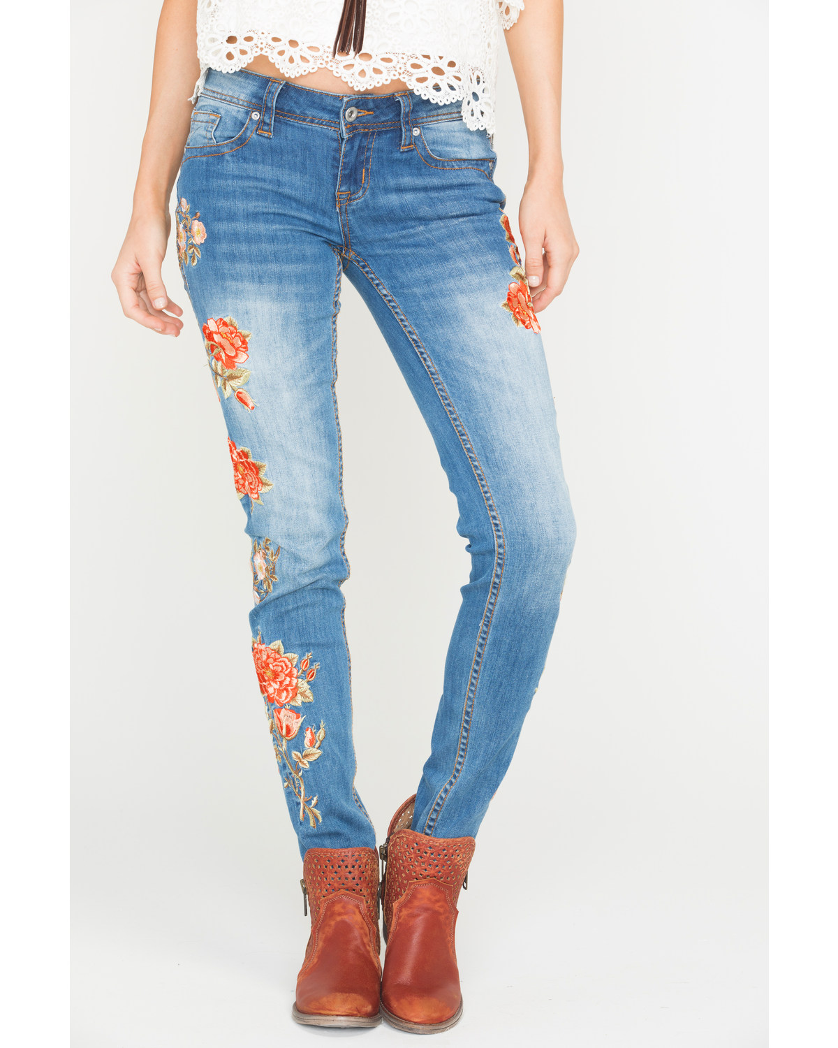 251fa03cca869 Grace in LA Women s Floral Embroidered Skinny Jeans