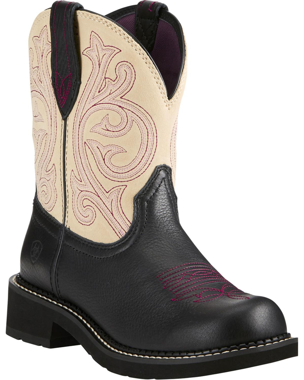 461e4ae0375 Ariat Fatbaby Women s Heritage Black Cream Cowgirl Boots - Round Toe ...